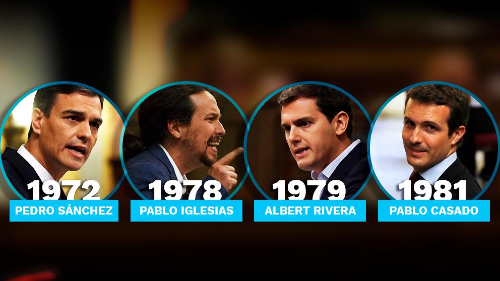 Los cuatro líderes nacionales y el año en que nacieron