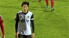 Kangin Lee durante un partido con el Valencia Mestalla esta temporada. (Europa Press)