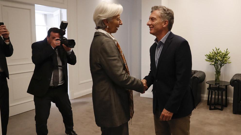 Christine Lagarde y Mauricio Macri (Foto: AFP)