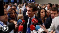 Pablo Casado elegido presidente del PP ante la prensa. Foto: EFE