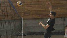 Thibaut Courtois, jugando al volley en Tenerife.