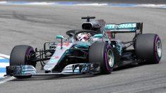 Hamilton, durante el Gran Premio de Alemania de Fórmula 1.