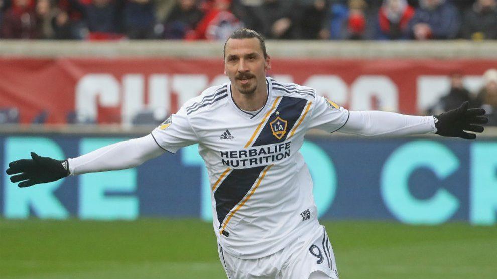 Zlatan Ibrahimovic celebra un gol con Los Ángeles Galaxy. (Getty)