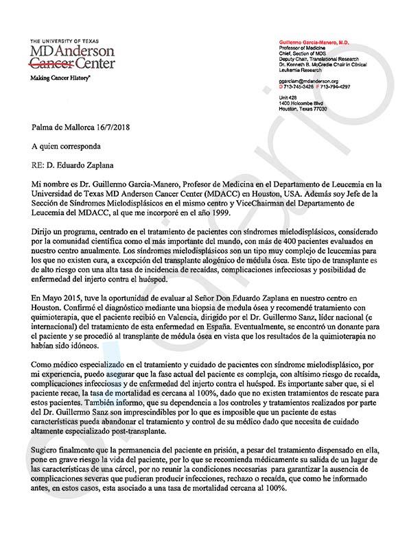 Un experto mundial en leucemia avisa a la juez: una recaída de Zaplana «es 100% mortal»