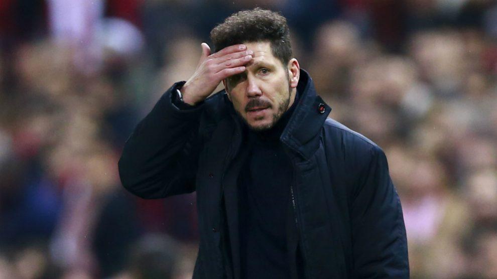 El Cholo Simeone durante un partido con el Atlético. (Getty)