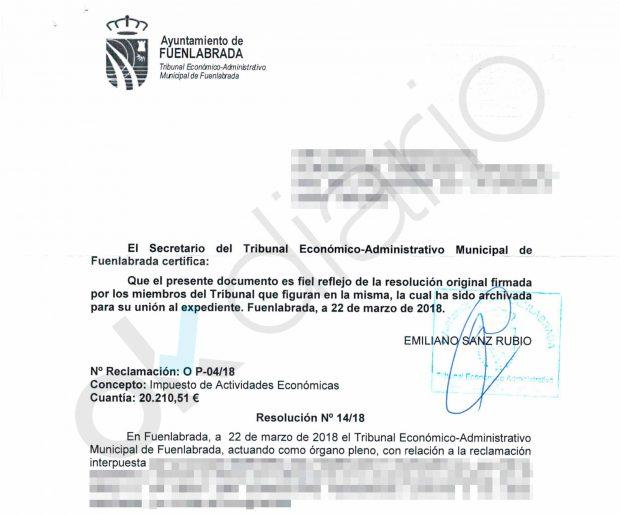Documento firmado por el secretario del TEAMF, Emiliano Sanz.