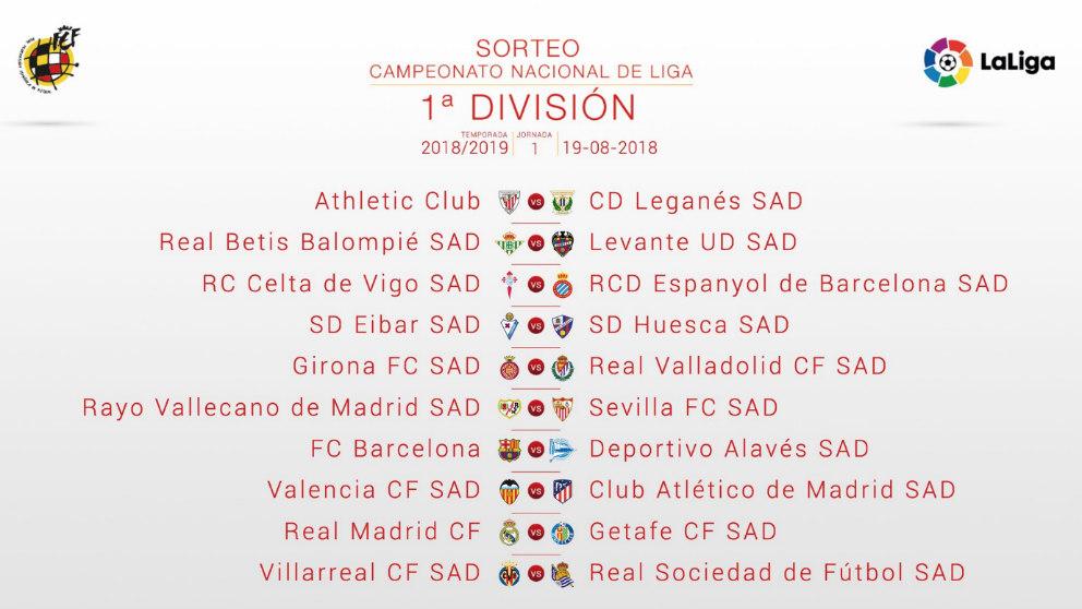 Liga Bbva Calendario 2019.Calendario De Laliga De Futbol 2018 19 Todos Los Emparejamientos