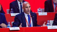 Luis Rubiales, en la Asamblea de la Federación. (EFE)