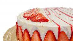 Receta de pastel de nata y fresas