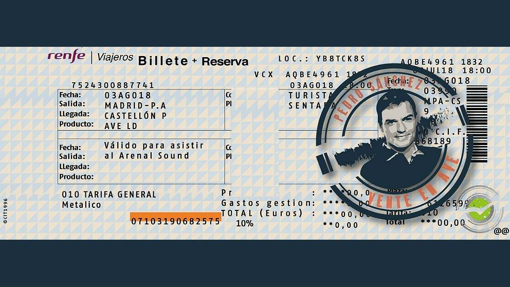 NNGG del PP valenciano han enviado un billete de AVE a Pedro Sánchez para que vaya al Arenal Sound de Burriana (Castellón).