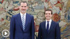 El Rey Felipe VI y Pablo Casado, en Zarzuela. (EP)