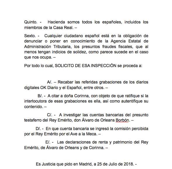 Manos Limpias denuncia ante la Agencia Tributaria al Rey Juan Carlos por sus cuentas en Suiza