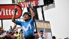 Nairo Quintana celebra su victoria en el Tour. (AFP)