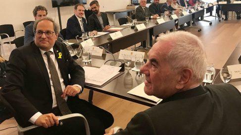 Quim Torra y Ernest Maragall, en la reunión para restablecer el Diplocat. (EP)