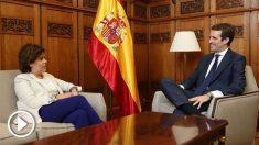 Pablo Casado y Soraya Sáenz de Santaamaría, en el Congreso.