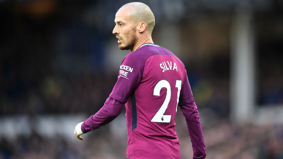 David Silva, durante un partido con el Manchester City. (Getty)