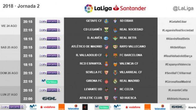 Calendario Liga Segunda.Calendario Liga 18 19 Real Madrid Y Barcelona Repetiran Horario A