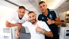Kiko Casilla, Karim Benzema y Theo Hernández, antes de volar a la gira por Estados Unidos del Real Madrid. (@theo3hernandez)