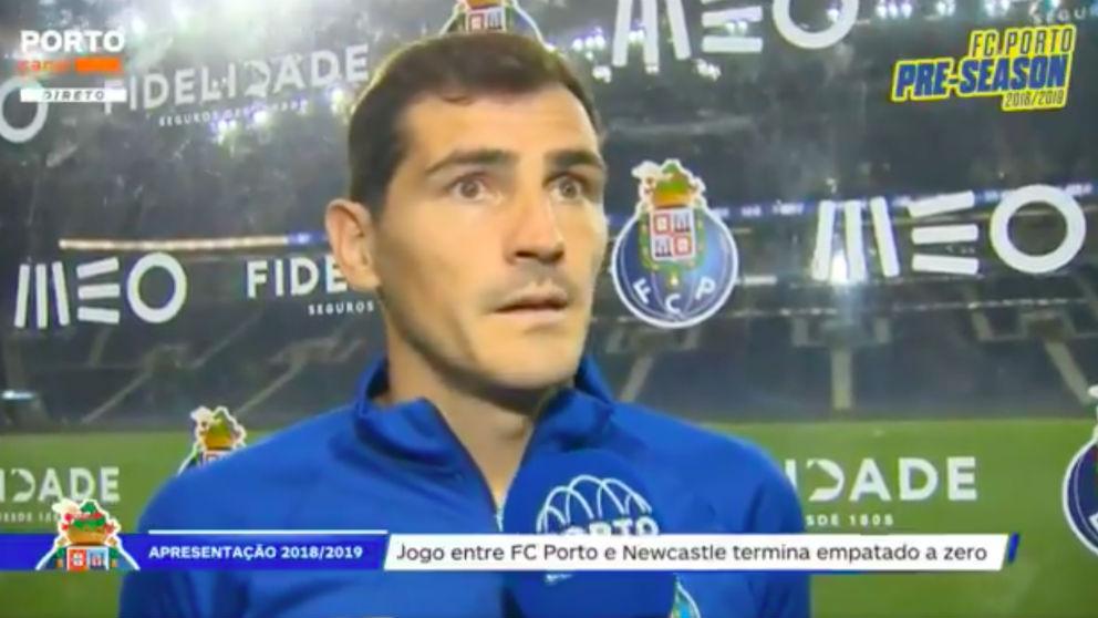Captura de pantalla de Casillas hablando portugués.