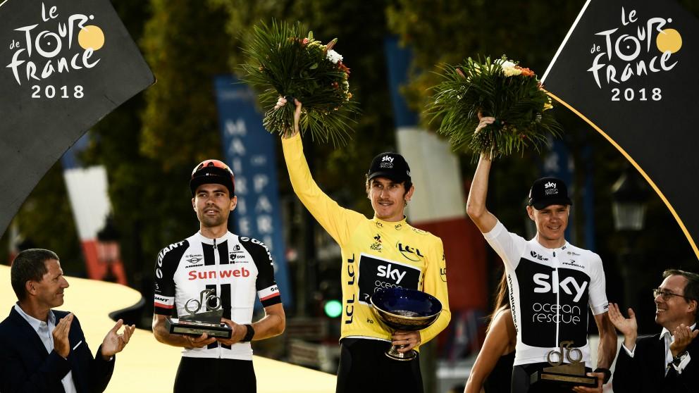 Dumoulin, Thomas y Froome, en el podio de París. (AFP)