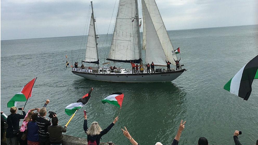 Imagen distribuida por la ONG Rumbo a Gaza del velero integrante de la 'flotilla' para romper el 'bloqueo' a Gaza.
