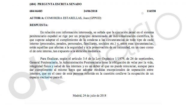 """El Gobierno admite trato """"excepcional"""" a Urdangarin para """"preservar su intimidad"""""""