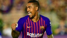 Malcom, durante un partido con el Barcelona. (AFP)