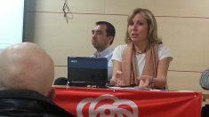 Mónica Melle, durante una charla en la sede socialista del distrito de Salamanca, en Madrid.
