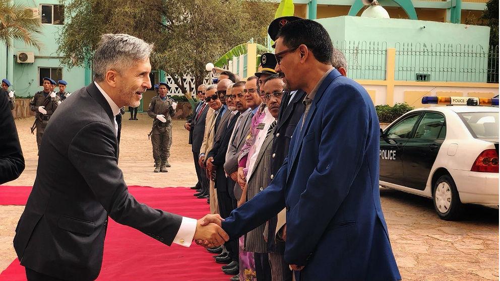 Fernando Grande-Marlaska, ministro del Interior, a su llegada a Nuakchot (Mauritania). (EP)