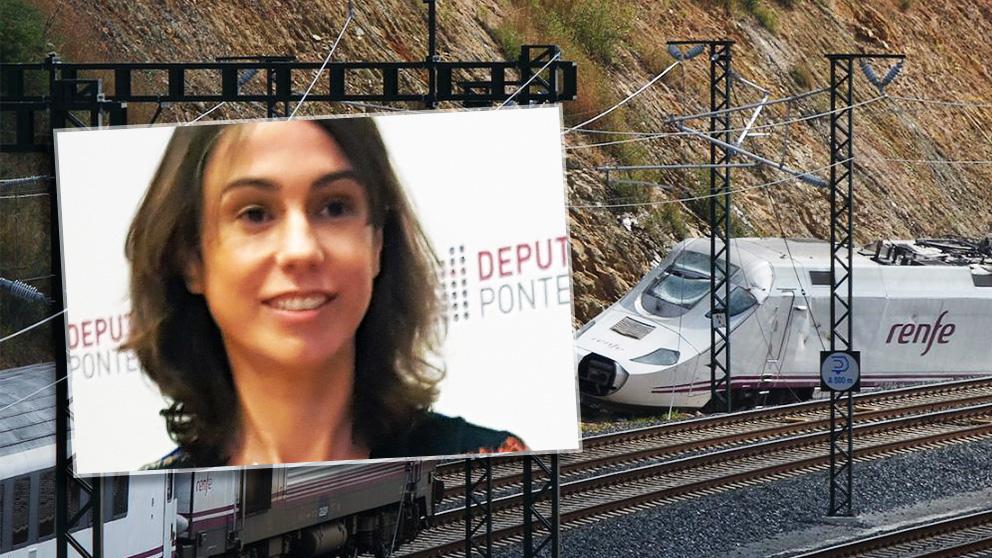 La nueva presidenta de Adif, Isabel Pardo de Vera, ante una imagen de archivo del accidente del tren Alvia.