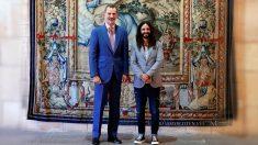 El Rey Felipe VI y Baltasar Picornell i Lladó, Presidente del Parlamento de Islas Baleares, durante la audiencia celebrada esta mañana en el Palacio Real de la Almudaina, en Palma de Mallorca