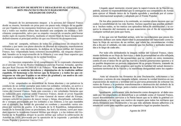 181 altos mandos del Ejército en la reserva firman un manifiesto en el que piden «respeto» a Franco