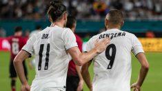Bale y Benzema celebran el gol contra el United. (Getty)