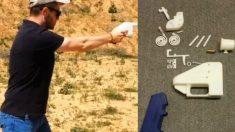 Un hombre dispara con un arma impresa en 3D.