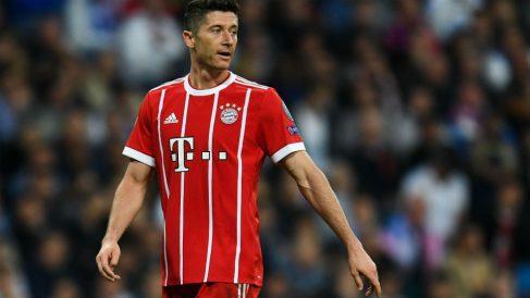 Lewandowski durante el Real Madrid-Bayern de la pasada temporada. (Getty)