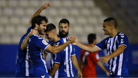 Los jugadores del Lorca celebran un gol. (Europa Press)