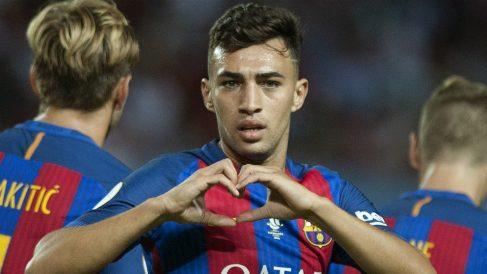 Munir celebra un gol con el Barcelona. (AFP)