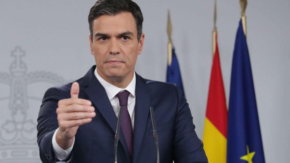 Pedro Sánchez, en rueda de prensa en La Moncloa.