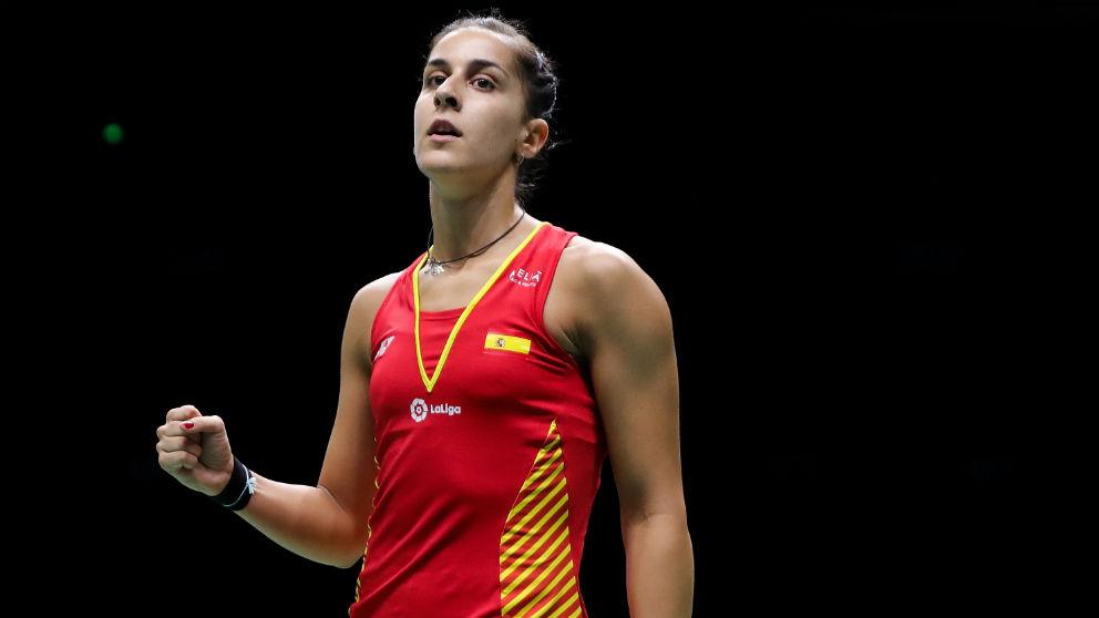 Carolina Marín celebra su victoria en los cuartos de final del Mundial de bádminton. (Getty)