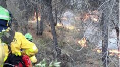 Operarios del Infoca luchan contra las llamas del incendio de Nerva (Huelva). (Foto: Infoca)