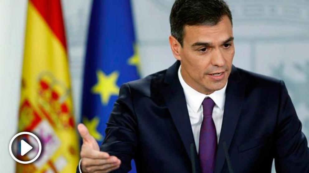 Pedro Sánchez durante el balance que ha realizado, antes de las vacaciones de verano, de los dos meses que lleva ejerciendo de Presidente del Gobierno. Foto: EFE