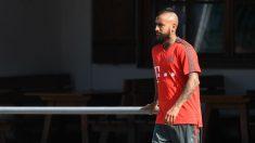 Arturo Vidal, durante un entrenamiento con el Bayern de Múnich. (AFP)