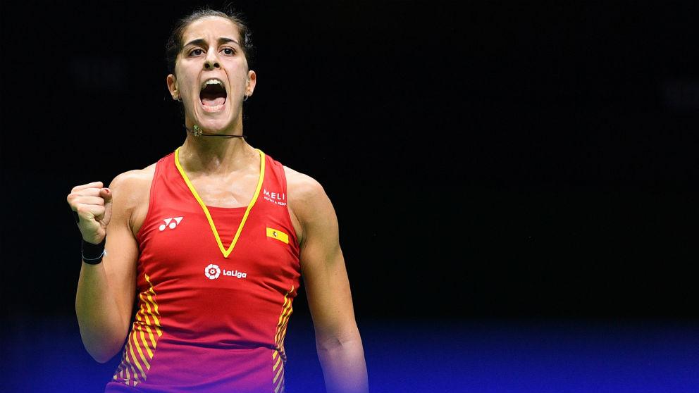 Carolina Marín celebra un punto en el Mundial de Bádminton. (AFP)