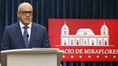 El vicepresidente de Venezuela, Jorge Rodríguez, en una rueda de prensa en el Palacio de Miraflores (Foto: Noticias24).