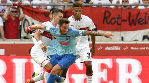 Saúl Ñíguez, durante el Stuttgart – Atlético de Madrid. (AFP)