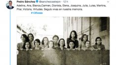 """Tuit publicado por Pedro Sánchez en memoria de las """"13 rosas"""" socialistas de la Guerra Civil."""