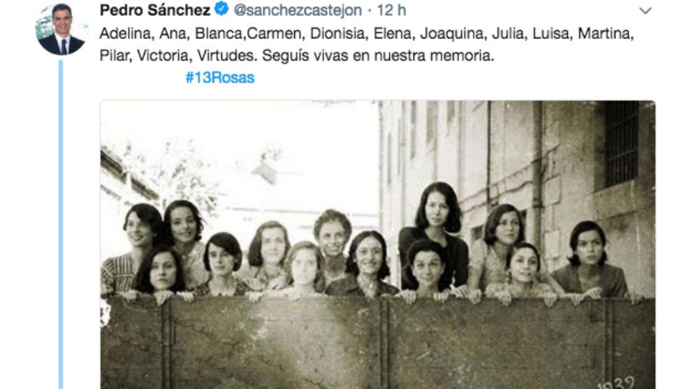 Tuit publicado por Pedro Sánchez en memoria de las «13 rosas» socialistas de la Guerra Civil.