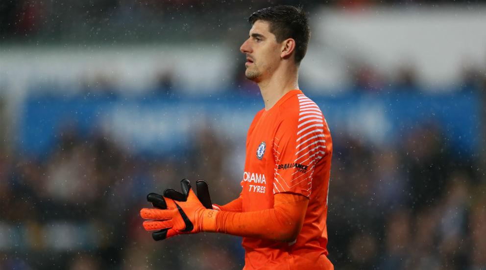 Thibaut Courtois, durante un partido con el Chelsea. (Getty)