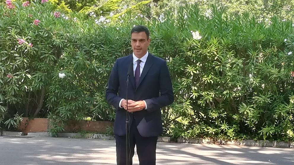 El presidente del Gobierno, Pedro Sánchez, en el Palacio de Marivent. (EP)