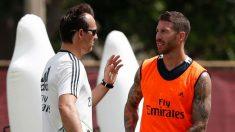 Sergio Ramos y Lopetegui durante un entrenamiento. (Realmadrid.com)